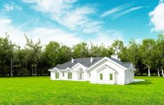 Projekt domu Rezydencja Parkowa - 258,96 m2 - koszt budowy 374 tys. zł Home Fashion, House Plans, Exterior, Cabin, How To Plan, Mansions, House Styles, Bungalows, Home Decor