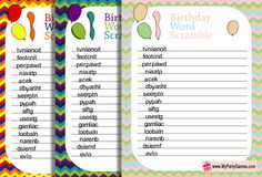 On this page you will find Free Printable Birthday Word Scramble Game Worksheets. This is a fun game and you can play it in classrooms, on tweens birthday party 50th Birthday Party Games, Free Birthday, Adult Birthday Party, Happy Birthday Matt, Happy Birthday Printable, Scramble Words, Scramble Game, Game Ideas, Party Ideas