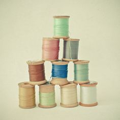 Original fine art still life photograph featuring a collection of old wooden cotton reels in pretty pastel colours. Title: Cotton Paper Size: 8 x (This print includes a white border for easier framing). An unframed print, titled and signed. Pantone 2016, Sewing Room Decor, Sewing Rooms, Sewing Art, Sewing Patterns, Fabric Photography, Photography Tips, Spool Crafts, Pastel Decor