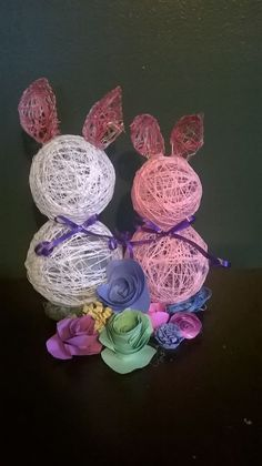 String and glue bunnies