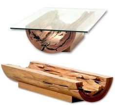 Canoa Coffee Table, with natural log base and glass top.