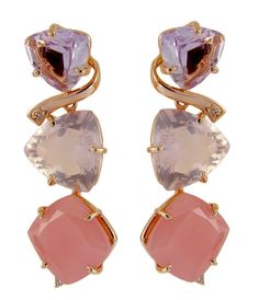 Pendientes con amatista, cuarzo rosa, cuarzo malva y oro