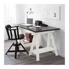 LINNMON / FINNVARD Table, black-brown, white black-brown/white 150x75 cm
