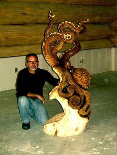 Octopus - Wood carving by Jordan Anderson.