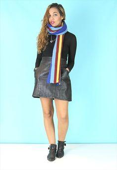 Black Real Leather Double Pocket Mini Skirt - LS2610151