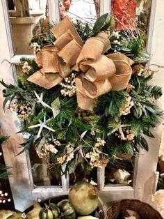 Christmas wreath with starfish and burlap