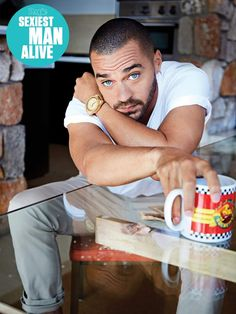 Someone else mentioned liking men with dark hair and blue eyes so here's [Jesse Williams]. The stamp was put there by People's Magazine but it's not far for my opinion either! Jackson Avery, Jesse Williams, Greys Anatomy, Sarah Drew, Teen Wolf Boys, Kendall Schmidt, Beautiful Men Faces, Detroit Become Human, Boyfriends