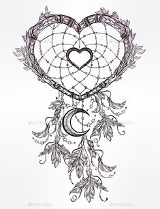 Heart Shaped Dream Catcher With Moon. - Tattoos Vectors