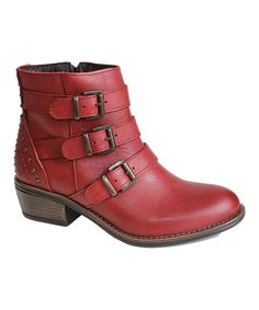 Look at this #zulilyfind! Eric Michael by Laurevan Red Sparta Leather Ankle Boot by Eric Michael by Laurevan #zulilyfinds