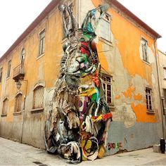 Street Art by Bordalo II in Porto Portugal.R. Guilherme Gomes Fernandes 42, 4400-266 Vila Nova de Gaia