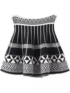Black White Geometric Print Flare Skirt