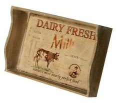 Shabby Chic Wooden Dairy Fresh Cow Serving Tray Kitchen Dining Table Caddy   eBay