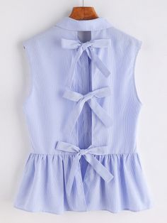 Shop Striped Bow Tie Split Back Sleeveless Peplum Shirt online. SheIn offers Striped Bow Tie Split Back Sleeveless Peplum Shirt & more to fit your fashionable needs. Casual Outfits, Summer Outfits, Cute Outfits, Bow Tie Shirt, Peplum Shirts, Peplum Blouse, Collar Blouse, Sleeveless Shirt, Blue Blouse