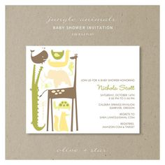 jungle animals   baby shower invitation set by OliveandStar, $16.50