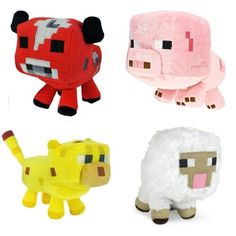 Just Model Minecraft Animal Plush Set of 4: Baby Pig Baby Mooshroom Baby Ocelot Baby Sheep 6-8 Inches 4Pcs Set 6-8 inches.  Minecraft Plush Toys.