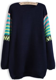 Royal Blue Contrast Striped Long Sleeve Sweater EUR€16.28
