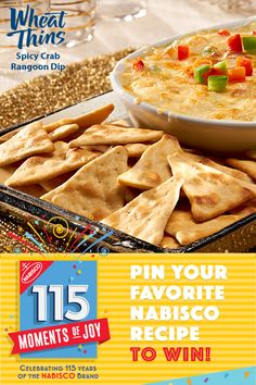 Learn more at www.Nabisco115Moments.com! Pin Your Favorite NABISCO recipe for a chance to win $115…winner every day. Add a new twist to traditional Thanksgiving appetizers this year with our Spicy Crab Rangoon Dip, served with WHEAT THINS Crackers.