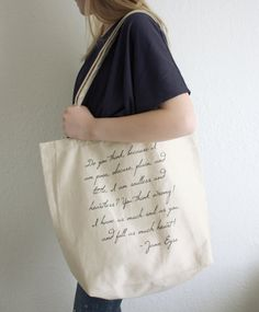 Jane Eyre Quote Tote Bag  Charlotte Bronte Quote by ThornfieldHall