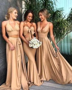 Custom Made Morden Sequin Bridesmaid Dress Sexy Mismatched Side Slit Long Gold Bridesmaid Dresses, Champagne Bridesmaid Dresses, Gold Bridesmaids, Modest Bridesmaid Dresses, A Line Prom Dresses, Wedding Party Dresses, Sexy Dresses, Sequin Bridesmaid, Long Dresses, Bride Maid Dresses