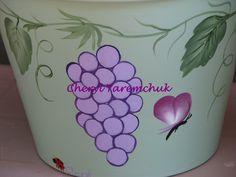 Light Purple Grapes - handpainted flower pot