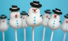 winter wedding snowman favor cake pops
