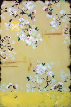 Kathe Fraga Art, www.kathefraga.com Kathe's paintings are inspired by the romance of vintage French wallpapers and Chinoiserie with a modern twist. 36x24 on frescoed birch panel.