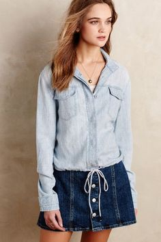 Chambray Bomber Jacket - anthropologie.com