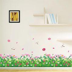Cosmos flores cercas rodapé adesivos de parede em casa adesivos decorativos adesivos de paredes 3d tatoo diy quarto mural art 048
