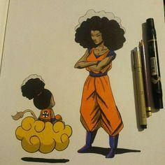 Black female Goku drawing. I love this!