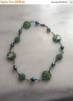 St. Paddys Sale Carribean Blues Czech Glass Beads Wire Wrapped Necklace \\    Boho Jewelry \\  Cruise Wear Necklace \\  Product Id: WWS11