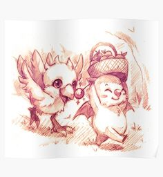 Chocobo and Moogle from Final Fantasy Final Fantasy 3, Final Fantasy Artwork, Final Fantasy Characters, Fantasy Love, Fantasy Series, Fantasy World, Star Citizen, Chibi, Finals
