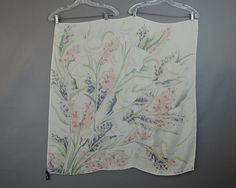 Vintage Silk Scarf Calla Lilies by Ralph Lauren, Muted Colors, 34x35 inches