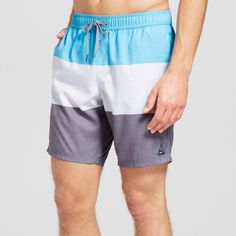 Men's Colorblock Swim Trunks - Trintiy Collective Aqua Xxl, Blue