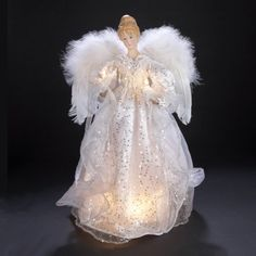 17 Lighted Angel in White Sequined Dress Christmas Tree Topper  Clear Lights -- This is an Amazon Affiliate link. Check this awesome product by going to the link at the image.