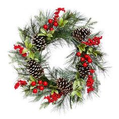 Darby Home Co Holly and Pinecone Wreath
