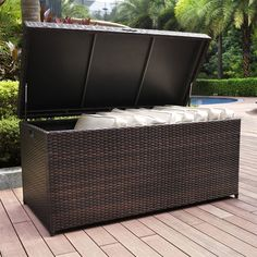 Shop Crosley Furniture Crosley CO7300-BR Palm Harbor Outdoor Wicker Storage…