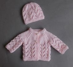 Lace Knit Premature Baby Set - Let your favorite newborn enter the world in style with this Lace Knit Premature Baby Set. If you're new to lace knitting, then these tiny and quick projects are the perfect place to start. Made with the garter stitch, stockinette stitch, and a super easy-to-follow lace arrangement, these free knitting patterns for babies are going to light up the eyes of any new mommy.