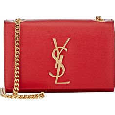 Saint Laurent Monogramme Small Crossbody ($1,550) ❤ liked on Polyvore featuring bags, handbags, shoulder bags, red, cross body handbags, red handbags, shoulder handbags, red crossbody and shoulder strap bag