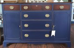 """Katie & Co. Furniture Restorations is in love with General Finishes Milk Paint! They freshened up this darling buffet with Coastal Blue and """"jived"""" with Java Gel Stain for the top drawers!"""