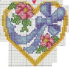 Point de croix coeur -m cross stitch heart with flowers and bow Needlepoint Patterns, Counted Cross Stitch Patterns, Cross Stitch Designs, Cross Stitch Embroidery, Embroidery Patterns, Cross Stitch Boards, Cross Stitch Heart, Cross Stitch Flowers, Cross Stitch Pictures