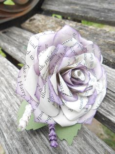 Paper Rose Boutonnieres. CHOOSE YOUR COLORS Books Etc. Any