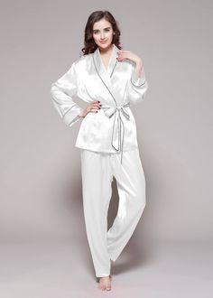 d365e3bdf0 22 Momme Contrast Trim Silk Pajamas Set