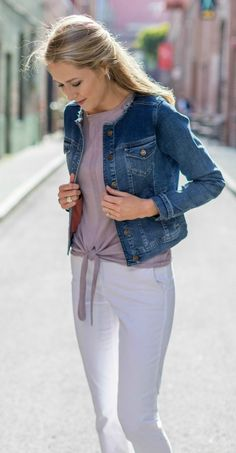 raw edge collarless denim jean jacket, white rolled chinos, taupe tie front crewneck sweater, colorblock brown and rose gold flat sandals