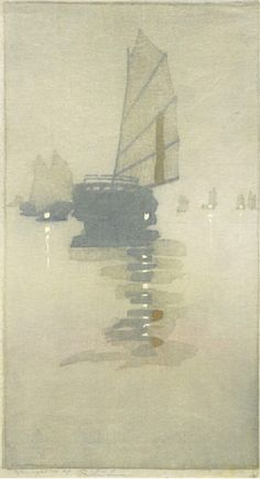 Bertha Lum, Junks in Inland Sea, Woodblock Print  Beautiful simplicity...