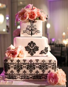 Damask & Pink Roses Wedding Cake...  love it. wish the bottom tier stayed the same, the middle one had trees, and the top one had birds in flight. :)