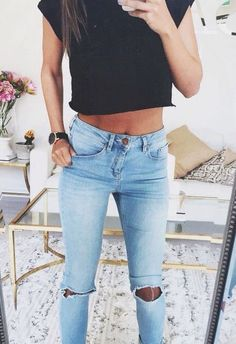 #street #style / black crop top + denim