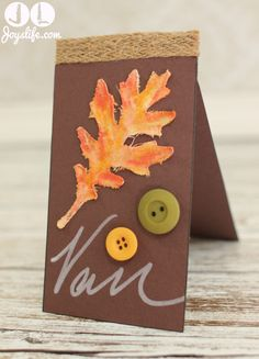 Fall Leaf Thanksgiving Place Card – Faber Castell Design Memory Craft Team Post #FaberCastell #DesignMemoryCraft #Thanksgiving