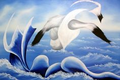 Flying mere inches above the crashing waves, gulls race for shelter from the coming storm. Oil on Canvas 36x24 10-16-2015