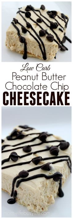Low Carb Peanut Butter Chocolate Chip Cheesecake Recipe | Low Carb Cheesecake Recipes | Peanut Butter Cheesecake