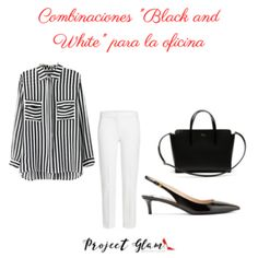 """Combinaciones """"Black and White"""" para la oficina — Project Glam Office Outfits, Glamour, Black And White, Polyvore, Style, Ideas, Fashion, Dress Code, Staple Pieces"""